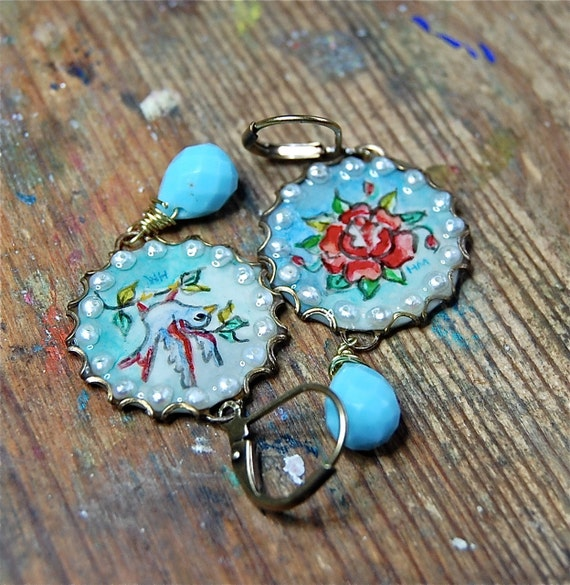 Lilygrace Flower and Bird Tattoo Handpainted Cameo Earrings with Freshwater Pearls and Glass Briolettes