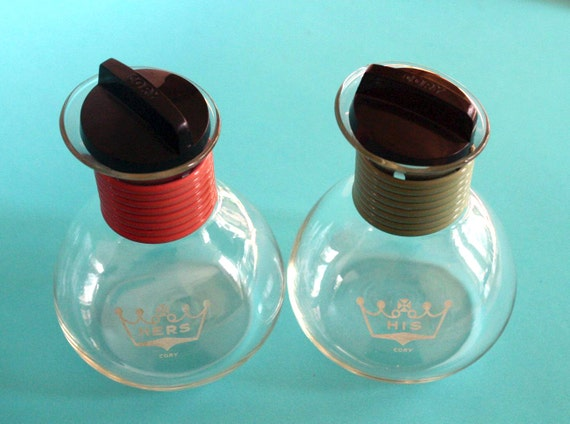 Vintage Retro His and Hers Cory Individual Hot Water Tea or Coffee Carafes