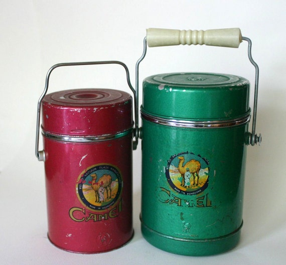 Pair of Camel Vintage Thermos Vacuum Flask Made in Hong Kong Amazing Patina.