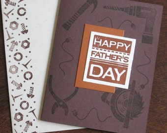 Copper Embossed Father's Day Card with Power Tools
