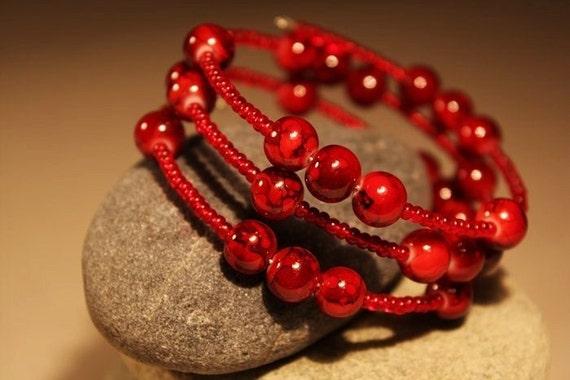 Red Glazed Bead Memory Wire Bracelet