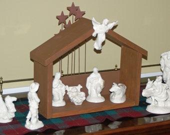 Medium Handmade Custom Wood Nativity Stable - Manger