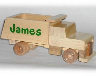 Wooden Personalized Toy Dump Truck - Long Cab