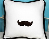 Moustache Embroidered Pillow Cover - Design Your Own - 12 x 12