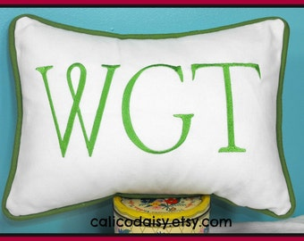 Large Font Monogrammed Personalized Pillow Cover - Lumbar Size 12 x 16