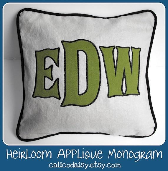Large Font Applique Monogrammed Pillow Cover - 16 x 16 square