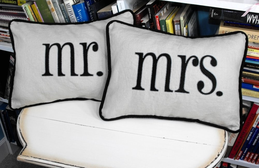 Mr And Mrs Embroidered Pillow Cover Set Choose By Calicodaisy
