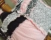 RAG PURSE, Diaper Bag, Quilted Tote, Pink, Black, Made to Order