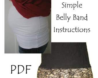 Belly Band Pattern for Tummy Sleeve Stomach Wrap Pattern - Plus Size Belly Wrap Pattern - Pregnancy Pattern - Sewing Pattern Simple Sewing