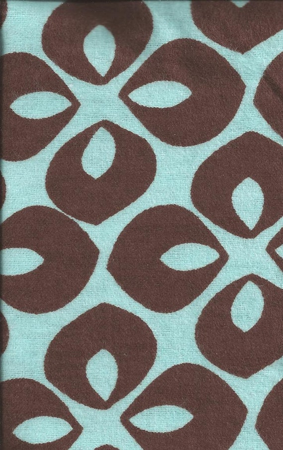 Flannel Fabric, Blue Brown, Modern, 14 inches LAST PIECE Available