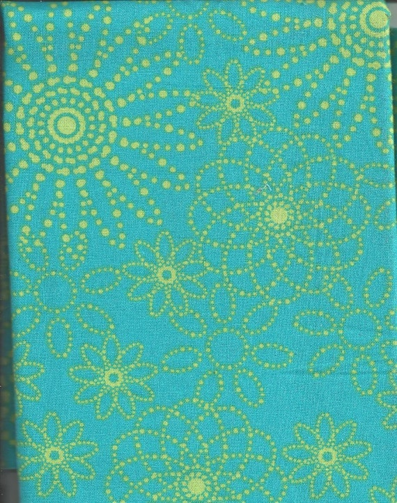 Cotton Fabric Lime Green Turquoise Flower Dots Quilting 1