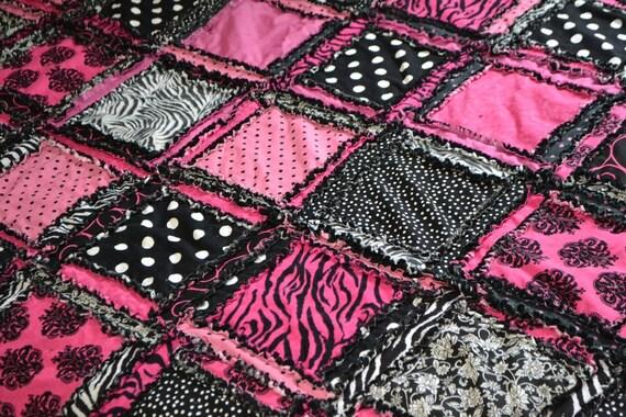 RAG QUILT Bedding, Zebra Hot Pink and Black King, Queen, Full, Twin- Teen Girl Zebra Bed Quilt - Preteen Patchwork Quilts -Girl Twin Bedding