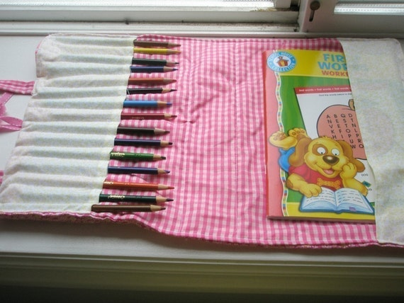 Pattern Coloring Book Bag With Pencil Holders Carrying Case