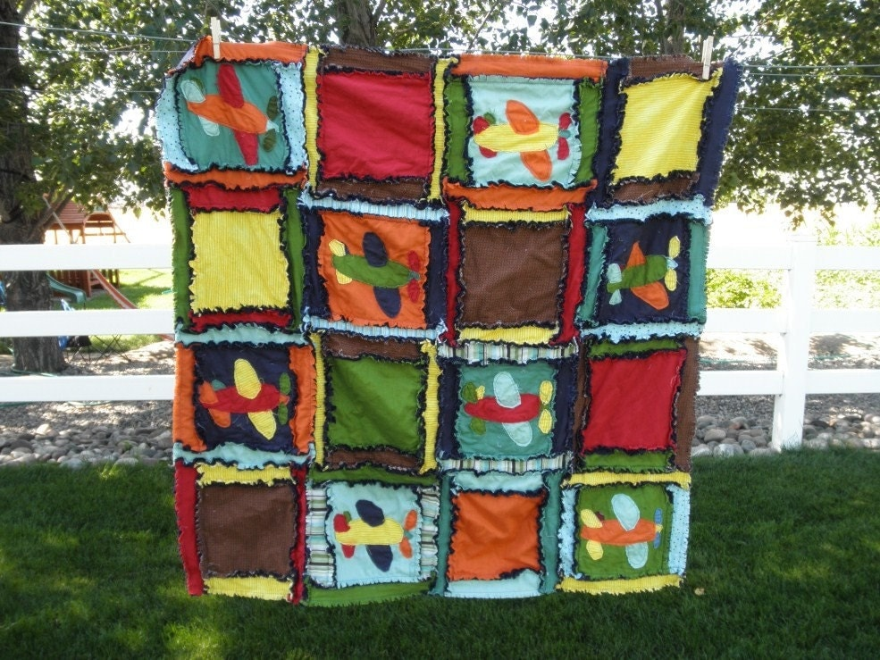 Rag Quilt Applique Airplane Baby Blanket By Avisiontoremember