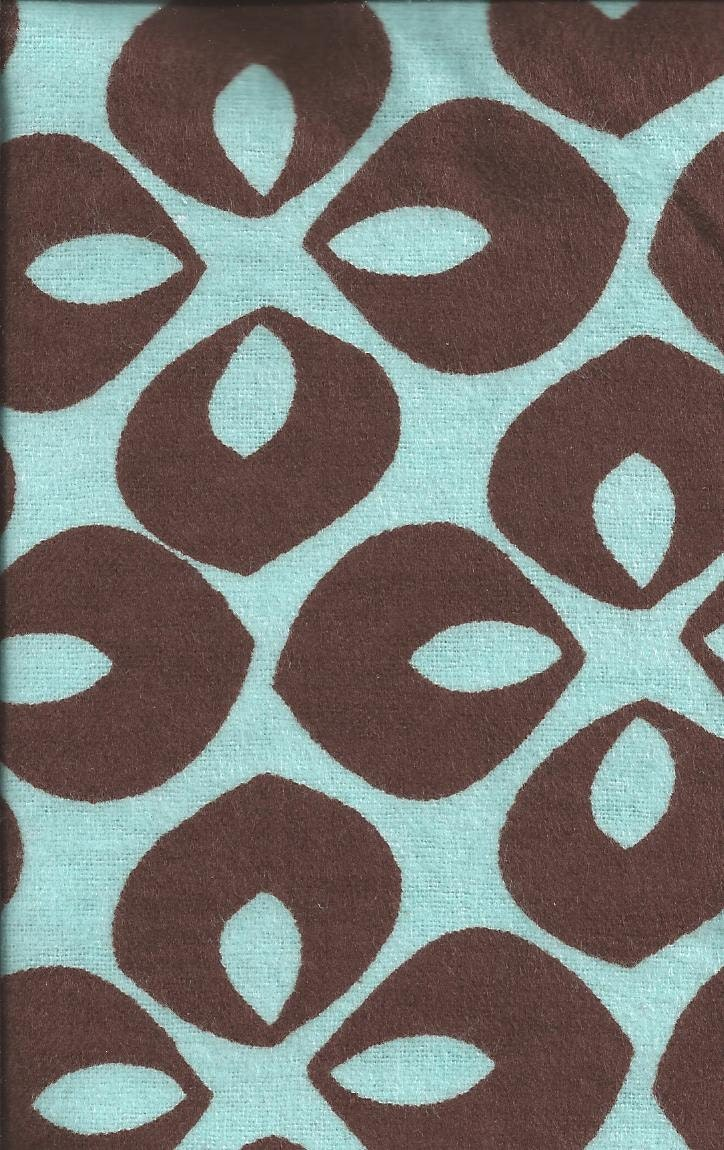 Flannel Fabric Blue Brown Modern 14 Inches Last Piece