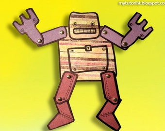 PDF Stress Bot Jointed Paper Robot Doll
