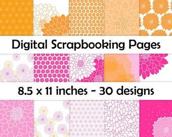 Chrysanthemum Digital Scrapbooking Pages - Orange and Pink