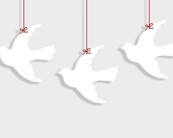 PDF 4 inch Flying Dove Bird Shape