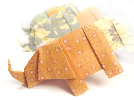 SALE 6 Origami Elephants - Orange Creamsicle
