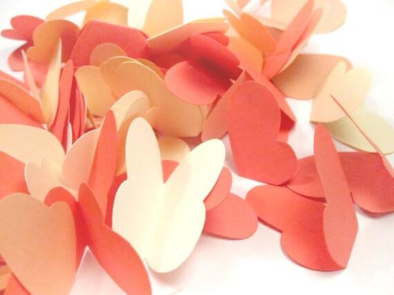 70 Paper Butterflies - Coral, Peach, Cream Cardstock