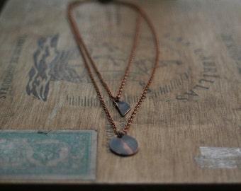 tiny shapes geometric copper necklace set 1113