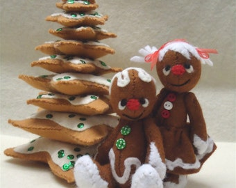 Gingerbread Village part 1: a 4 inch Gingerbread boy and girl plus a 7 inch cookie tree PDF E patterns