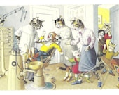 New York Vintage 1970s Alfred Mainzer Dressed Cats Postcard-At the Dentist