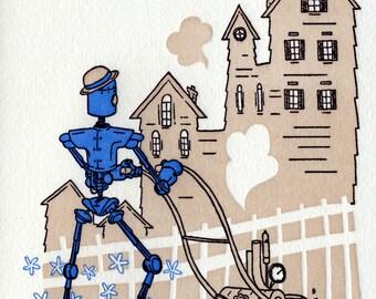 Yard work - letterpress card