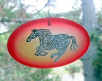 Orange Horse Suncatcher/Ornament - Etched, mirrored, and painted glass
