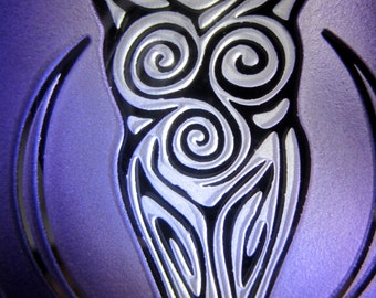Purple  Goddess Suncatcher/Ornament - Etched, Painted and Mirrored Glass