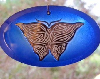 Blue Butterfly Suncatcher/Ornament - Etched, Painted, and Mirrored Glass