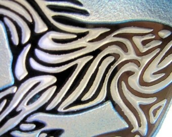 Blue Horse Suncatcher/Ornament - Etched, mirrored, and painted glass