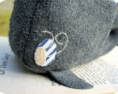 Willard the Whale - A Blue Suede Soft Sculpture