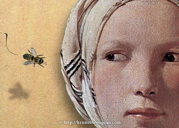 Bonnie & The Bee - 5x7 Fine Art Digital Collage Print