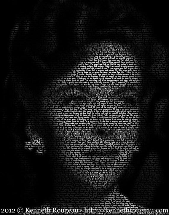 Ida Lupino - 11x14 Typographical Portrait Fine Art Print