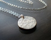 Small Hammered Silver Circle Necklace
