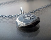Tiny Chunky Silver Paw Print Necklace