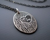Personalized Necklace - Carved Initials - Etched Silver