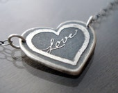 Love Necklace - Etched Sterling Silver Heart