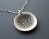 Love Walks On Four Paws - Inspirational Quote - Etched Sterling Silver