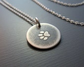 Tiny Silver Paw Print Necklace - Etched Pendant