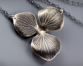 Large Sterling Silver Hydrangea Blossom Necklace