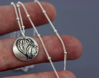 Chinese Lantern Necklace- etched silver jewelry
