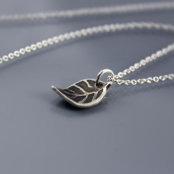 Tiny Leaf Necklace - Etched Silver - Nature Jewelry