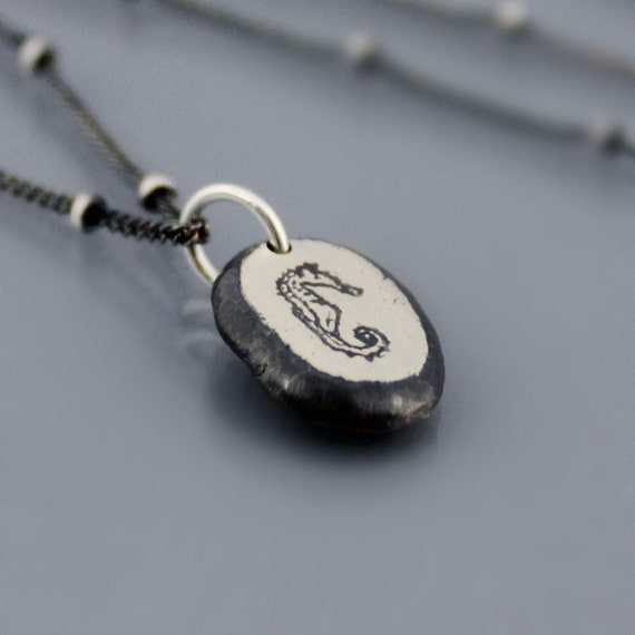 Tiny Seahorse Necklace - Etched Sterling Silver Nugget