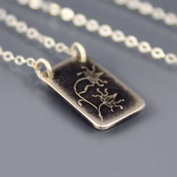 Sterling Silver Necklace - Vine Lace Fragment - Etched Jewelry