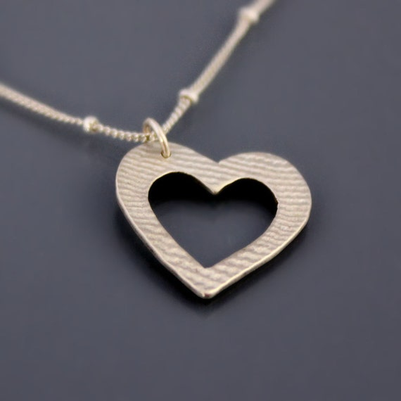 Textured Silver Heart Necklace