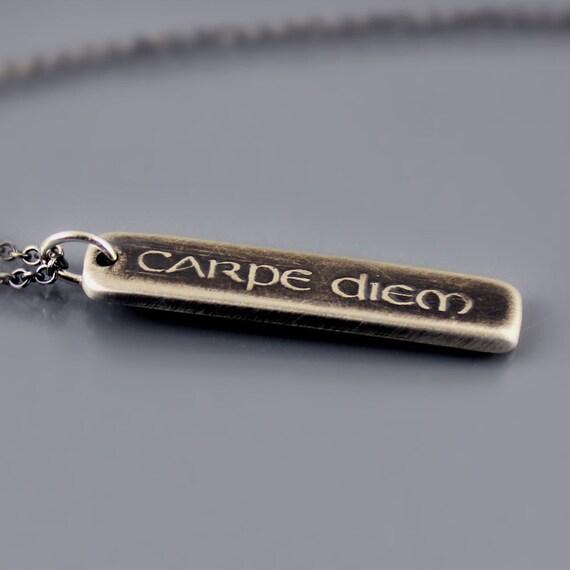 Etched Silver Carpe Diem Necklace