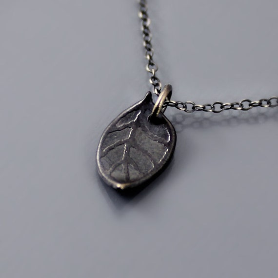 Tiny Dark Leaf Necklace - Etched Silver - Nature Jewelry