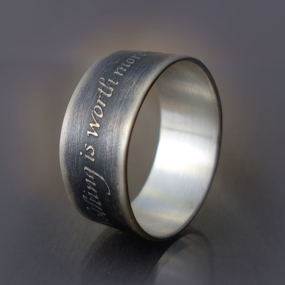 etched silver ring inspirational quote nothing is worth